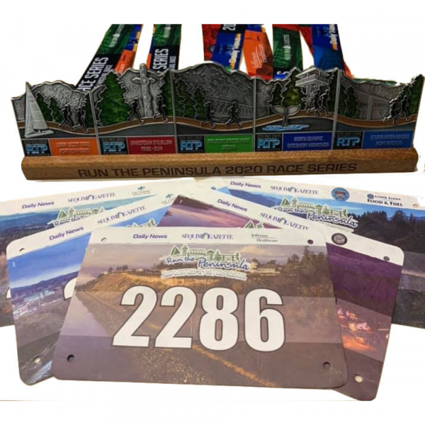 2020 Run the Peninsula Virtual Race - 5 Races - 5 Medals, Wooden Stand and Race Bibs (NO SWAG)